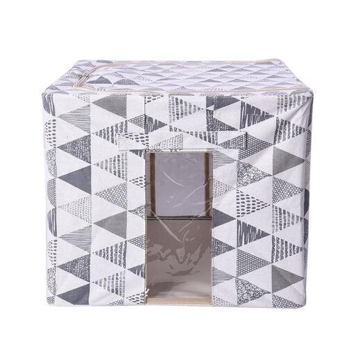 Triangular Pattern Storage Bag Organizer with Handle in White and Grey