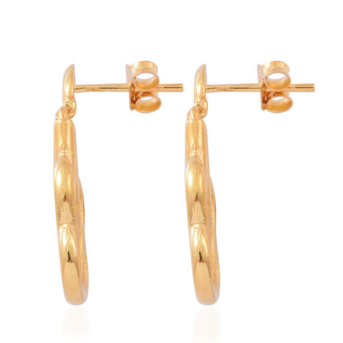 Designer Inspired-14K Gold Overlay Sterling Silver Earrings (with Push Back), Silver wt 4.76 Gms.