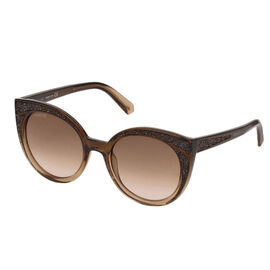 SWAROVSKI Womens Two Tone Brown Sunglasses With Embedded Crystal Effect And Brown Gradient Lenses