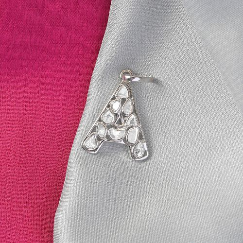 Artisan Crafted Polki Diamond Initial A Pendant in Platinum Overlay Sterling Silver 0.50 Ct.