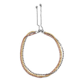 Platinum, Yellow and Rose Gold Overlay Sterling Silver Adjustable Bracelet (Size 6.5 - 8.5), Silver wt 4.41 Gms