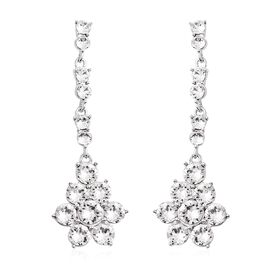 J Francis - Crystal from Swarovski White Crystal (Rnd) Floral Earrings in Rhodium Overlay Sterling S