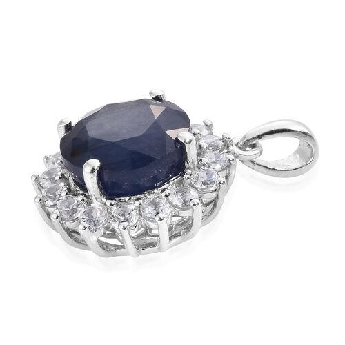 Premium Collection - Designer Inspired Rare Size Masoala Sapphire (Rnd 5.75 Ct), Natural White Cambodian Zircon Pendant in Platinum Overlay Sterling Silver 6.750 Ct.