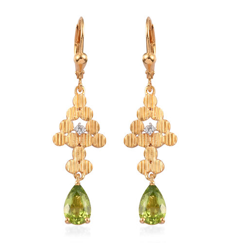 2.75 Ct AA Hebei Peridot and Zircon Dangle Earrings in Gold Plated Sterling Silver