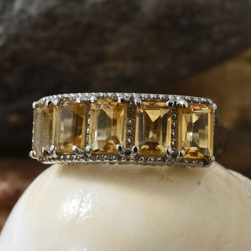 Brazilian Citrine (Oct 6x4) Five Stone Ring in Stainless Steel 2.750 Ct.
