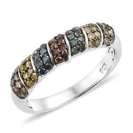 Multi Colour Diamond (Rnd) Ring in Platinum Overlay Sterling Silver 0.330 Ct