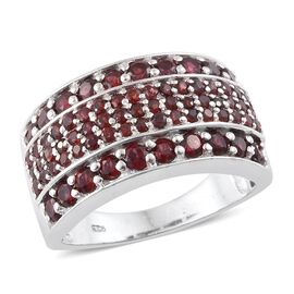 3 Carat Arizona Anthill Garnet Cluster Ring in Platinum Plated Silver 7.20 Grams