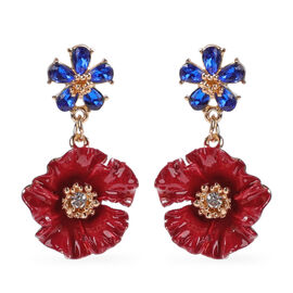 TJC Poppy Design - Simulated Blue Sapphire and White Austrian Crystal Enamelled Dangle Poppy Earring