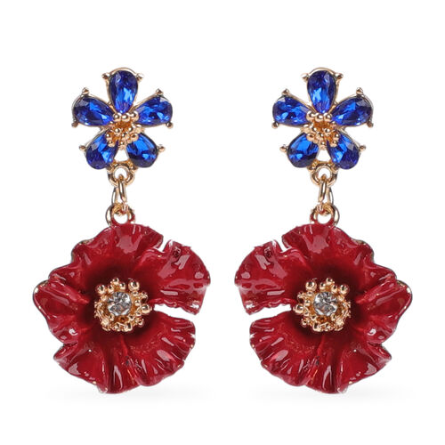 TJC Poppy Design - Simulated Blue Sapphire and White Austrian Crystal Enamelled Dangle Poppy Earring