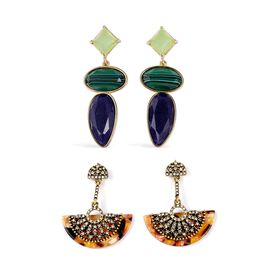 Set of 2 - Simulated Malachite, Simulated Tiger Eye and White Austrian Crystal Earrings (with Push Back) in Yellow Gold Plating