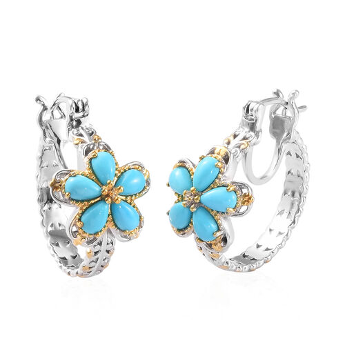 2.25 Ct Arizona Sleeping Beauty Turquoise Floral Earrings in Platinum and Gold Plated Silver