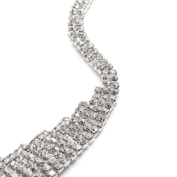 2 Piece Set - White Austrian Crystal Necklace and Drop Earrings in Silver Tone