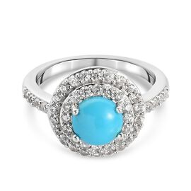 Arizona Sleeping Beauty Turquoise and Natural Cambodian Zircon  Ring in Platinum Overlay Sterling Si