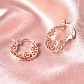 RACHEL GALLEY Rose Gold Overlay Sterling Silver Latticework Hoop Earrings (with Clasp)