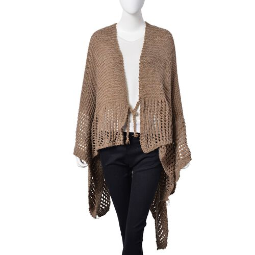 Chocolate Colour Crochet Pattern Knitted Kimono (Size 130X58 Cm)
