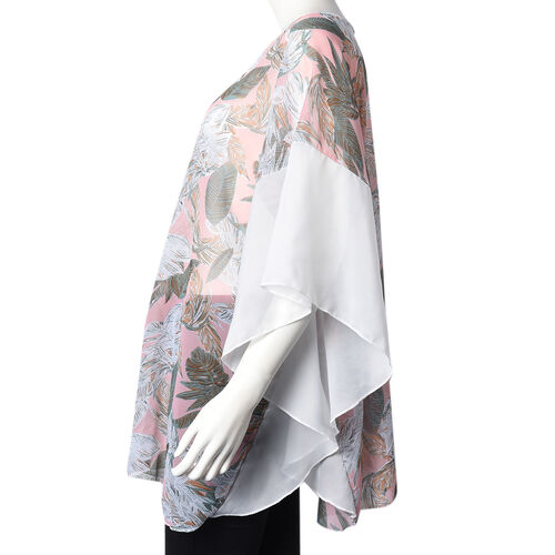 New Arrival- Feather Pattern Poncho (One Size Fits All; 65x75 Cm) - Pink and Multi