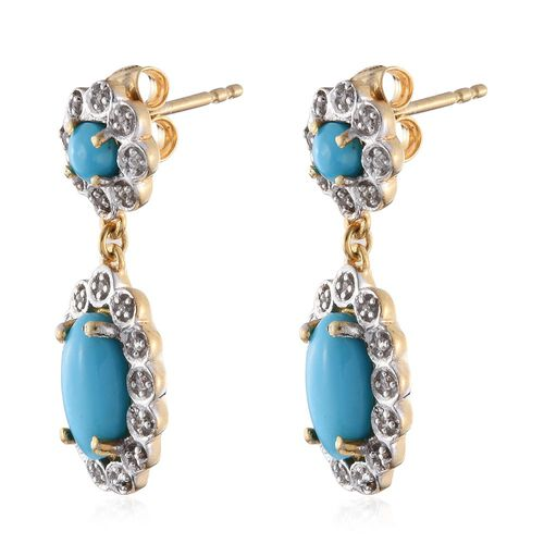 Arizona Sleeping Beauty Turquoise (Ovl), Natural Cambodian Zircon Earrings (with Push Back) in 14K Gold Overlay Sterling Silver 3.150 Ct.