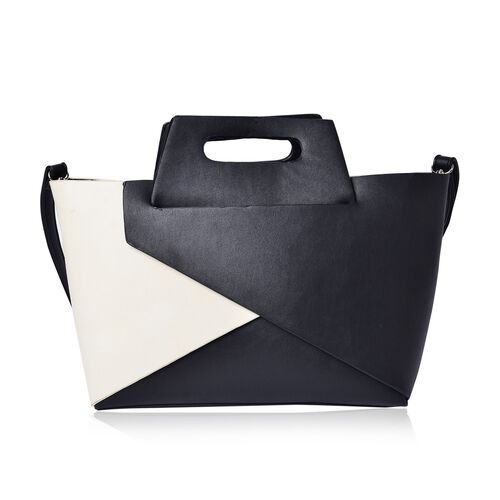 Set of 2 - Cream and Black Colour Large Tote (Size 40x20x10 Cm) with Black Grey Colour Small Clutch Bag (Size 15x25 Cm)