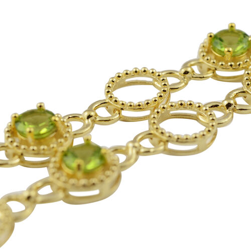 Hebei Peridot and Natural Cambodian Zircon Necklace (Size 18 with 2 inch Extender) in Yellow Gold Overlay Sterling Silver 12.30 Ct, Silver wt 25.34 Gms