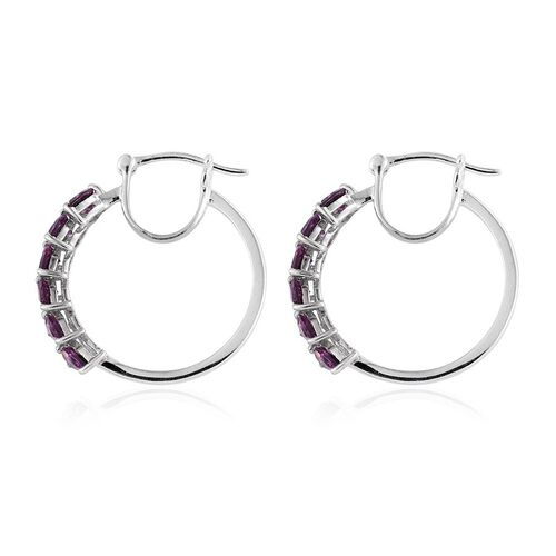 Rare Mozambique Grape Colour Garnet (Pear) Hoop Earrings (with Clasp) in Platinum Overlay Sterling Silver 3.000 Ct.