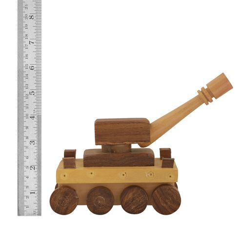 (Option 1) Home Decor - Wooden Handcrafted Tank Toy (Size 5x3 inch)