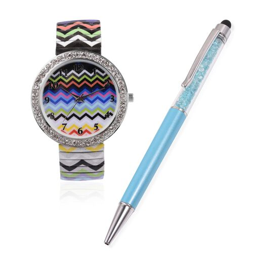 Set of 2 STRADA Japanese Movement White Crystal Studded Water Resistant Watch with Wavy Stripe Pattern Strap and Blue Colour Pen