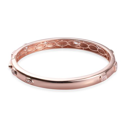 J Francis Rose Gold Overlay Sterling Silver Bangle (Size 7.5) Made with SWAROVSKI ZIRCONIA 9.61 Ct, Silver wt. 28.84 Gms