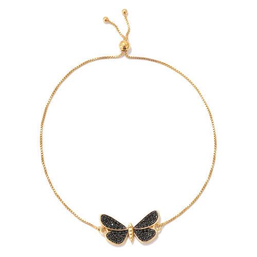 Boi Ploi Black Spinel (Rnd) Butterfly Adjustable Bracelet (Size 6.5 to 9.5) in 14K Gold and Black Ov