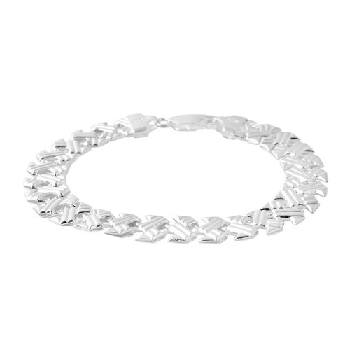 Vicenza Collection Panther Link Bracelet in Sterling Silver 7.70 Grams 7.5 Inch