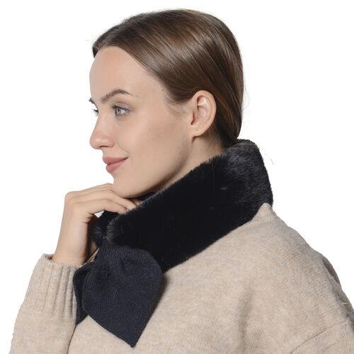 Faux Fur Scarf (Size 10x88cm) - Black