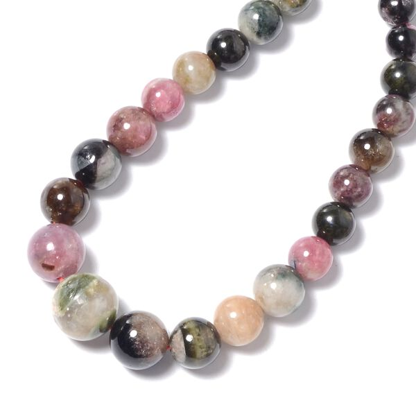 Multi-Tourmaline (Rnd) Necklace (Size 18) in Rhodium Overlay Sterling Silver 144.0 Ct.