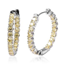 Simulated Yellow Sapphire Hoop Earrings in Silver Tone with Clasp