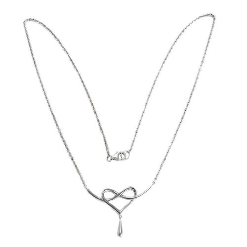 LucyQ Entwine Drip Necklace (Size 14 with 2 inch Extender) in Rhodium Plated Sterling Silver 4.27 Gms.