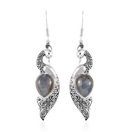 Sajen Silver - Labradorite Peacock Hook Earrings in Sterling Silver 1.45 Ct.