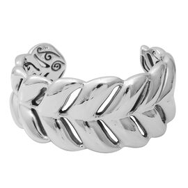 Designer Inspired- Sterling Silver Cuff Bangle (Size 7) Silver Wt 32.5 Grams