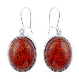 Baltic Amber (Ovl) Fancy Fish Hook Earrings in Sterling Silver, Silver wt 7.50 Gms