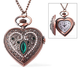 STRADA Japanese Movement Simulated Emerald (Mrq), Multicolour Austrian Crystal Water Resistant Heart