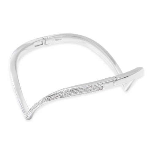 Isabella Liu - Twilight Collection - Natural White Cambodian Zircon (Rnd) Bangle (Size 7) in Rhodium Overlay Sterling Silver, Silver wt 22.59 Gms
