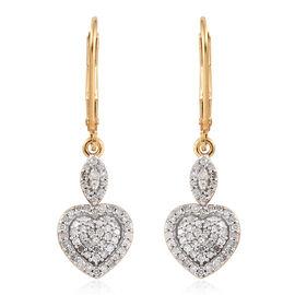 Diamond (Rnd) Heart Lever Back Earrings in 14K Gold Overlay Sterling Silver