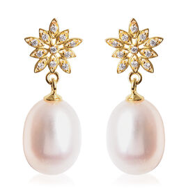 Freshwater White Pearl and Simulated Diamond Snowflake Drop Earrings (with Push Back) in Yellow Gold