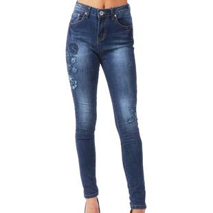 Indigo Blue Flower Applique Denim Blue High Waist Skinny Jeans