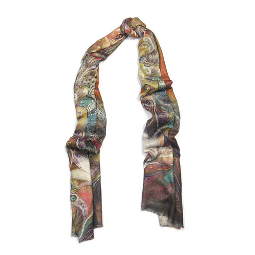 Multi Colour Digital Print Scarf (Size 200x70)