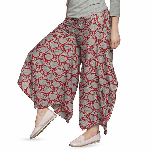 Grey and Red Colour Ethnic Pattern Palazzo Trouser (Free Size)