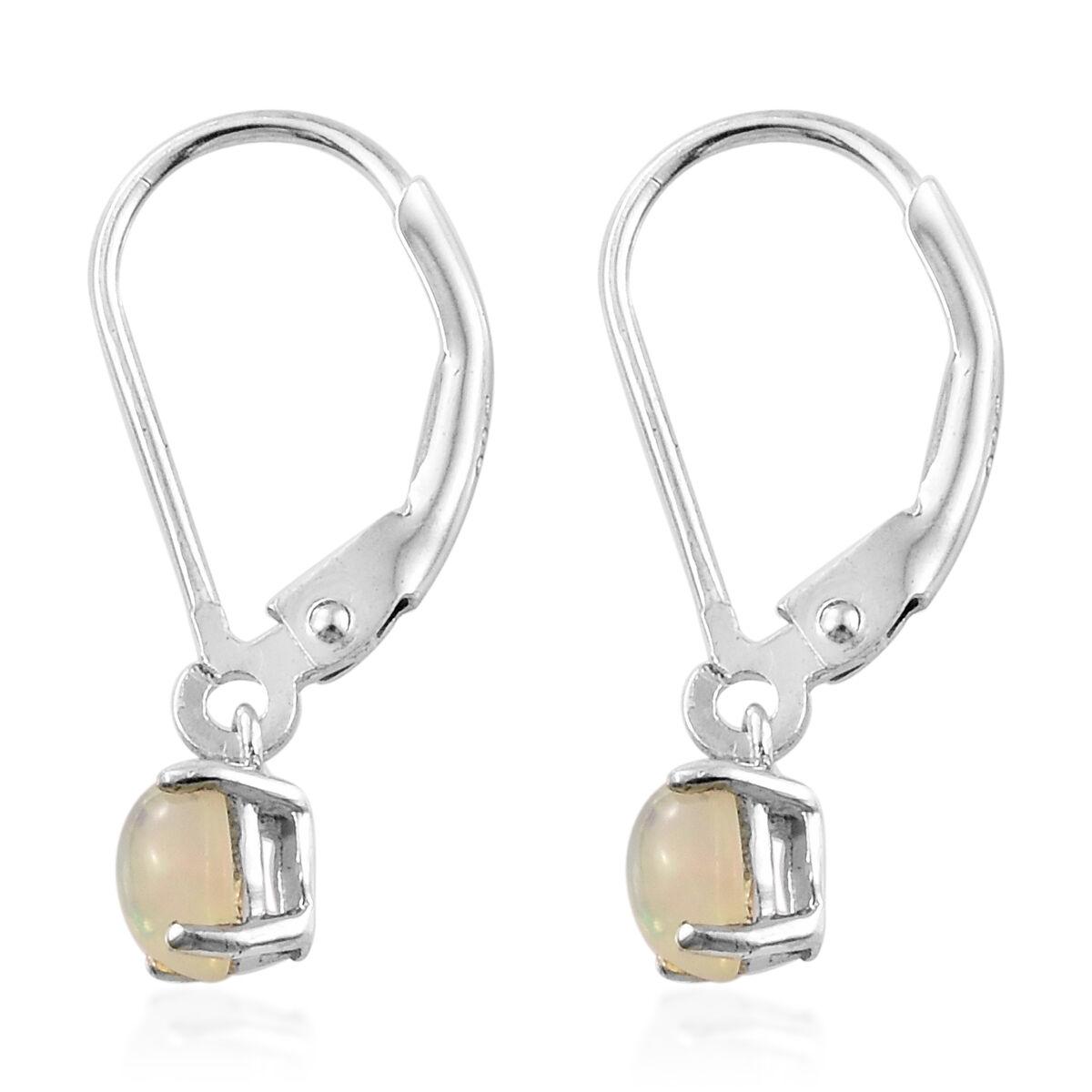 Ethiopian Welo Opal Lever Back Earrings in Platinum Overlay Sterling Silver