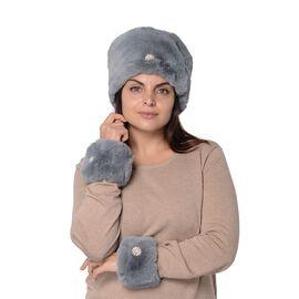 2 Piece Set - Faux Fur Cossack Hat (Size 15.2x58.4 Cm) and Wrist Warmer Cuff (Size 10.2x17.8 cm) wit