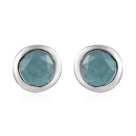 1 Carat Grandidierite Solitaire Stud Earrings with Push Back in Platinum Plated Silver