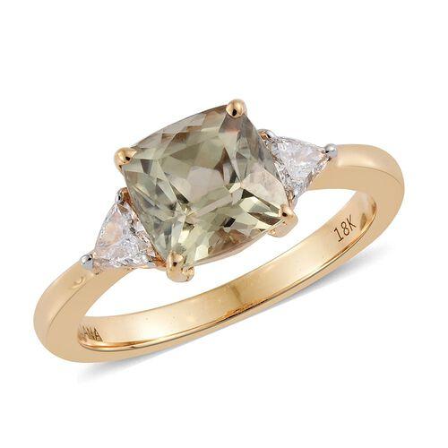 ILIANA 18K Yellow Gold Natural Turkizite (Cush 1.50 Ct), Diamond (SI/G-H) Ring 1.750 Ct.