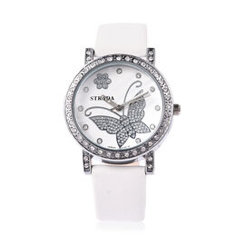 STRADA Japanese Movement Simulated Diamond Studded Butterfly Motif Dial Water Resistant Watch in Sta