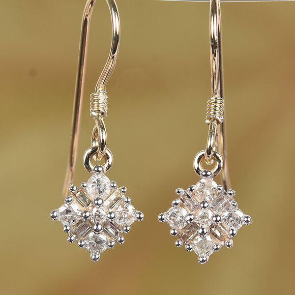 9K Yellow Gold SGL Certified Diamond (I3/G-H)Drop Hook Earrings 0.50 Ct.