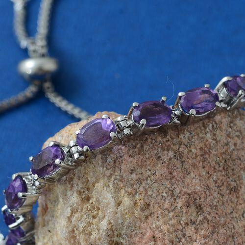 Designer Inspired - Lusaka Amethyst (Ovl) Adjustable Bracelet (Size 6.5 to 8.5)  4.000 Ct.